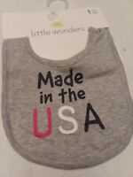 baby gray cotton feeding bib. Made in the USA patriotic new with tags