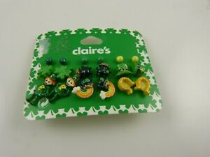 Claires sensitive solutions earrings clover rainbow lucky St Pat's 9 pair