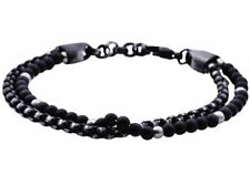 NWT BLACKJACK Mens Onyx Black Plated Stainless Steel Beaded Bracelet BJB191ON