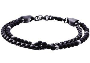 NWT BLACKJACK Mens Onyx Black Plated Stainless Steel Beaded Bracelet BJB191ON