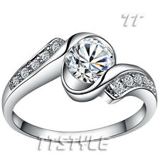 TTstyle 18K White Gold Plated Wedding Twist Band Ring