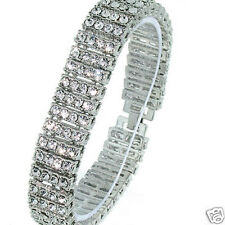 BRAND 4 Row Iced out Silver With Clear CZ Hip Hop Bling Bracelet