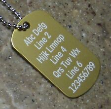 PERSONALIZED Dog Tag Necklace Horizontal Wording GOLD