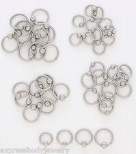 "316L Septum Ear Nose Lip Genital Surgical Steel Captive Bead Ring 14g 1/4"""