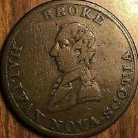 1814 NOVA SCOTIA HALIFAX BRITANNIA BROKE HALF PENNY TOKEN - Long Bust Breton 879