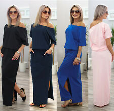 UK Summer Womens One Shoulder Split Long Maxi Ladies Party Beach Casual Dress