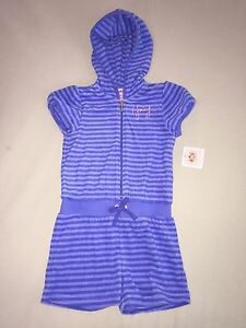 NEW JUICY COUTURE GIRLS SZ 12 18 MONTHS BLUE STRIPED TERRY ROMPER SHORTS HOODIE