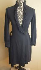 Diane Von Furstenberg Size 6 Navy Blue Wool Volante Wrap Dress Long Sleeves