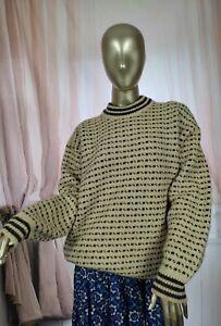 Nordic Icelandic Wool Cream Vintage Oversized Jumper Sweater Size Large