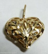 Cut Pendant Ladie's Love Elegant Valentines 14k Yellow Gold Carved Heart Diamond