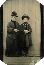 ANTIQUE TINTYPE PHOTO PORTRAIT OF WOMAN AND GIRL WEARING COATS/HATS