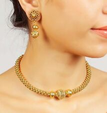 2063 Indian Bollywood Designer Gold Plated Polki Necklace Earring Jewelry Set