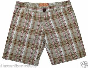 Billabong SKIP Sand Brown Pink White 100% Cotton Plaid Junior's Bermuda Shorts
