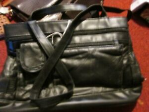 black patchwork leather bag short-handled pockets zip fastening handbag
