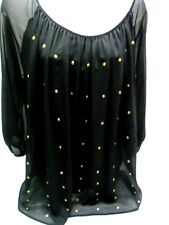 AB STUDIO 2 in 1 Attached Black Sheer Over Blouse Embellished Shirt Top XL