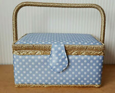 BNWT SEWING BASKET BOX FOR TREADS AND NEEDLES STORAGE BABY BLUE WHITE POLKA DOT