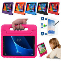 Kids Handle EVA Stand Case Cover+Tempered Glass Film For iPad / Samsung Tablet