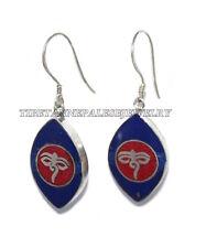 Lapis Earring Coral Earring Om Earring Tribal Earring Silver Earring Yoga Hippie