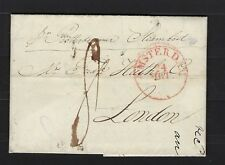 1829 Netherlands: stampless cover Amsterdam to London w/content-gorgeous strikes