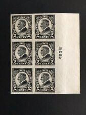 1923 US  2 Cent Harding Imperf Scott#611 PL# Block of 6  Mint NH VF