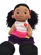Aissa Fabric Rag Doll with Black Yarn Hair and Pink Dress 16 Inch Tall