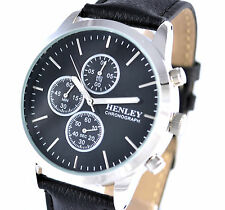 Mens Chronograph Watch Black Genuine Leather Strap Stopwatch Sport by Henley