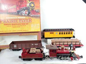 Bachmann 90014 Prarie Flyer G Scale Train Set Locomotive, 3 Cars, Track w/Box