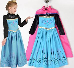 GIRLS CORONATION COSPLAY FROZE ELSA PRINCESS COSTUME PARTY FANCY DRESS + CAPE