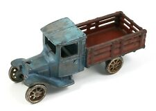 Vintage Arcade No. 203 Cast Iron Blue and Red Farm Stake Truck
