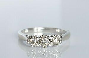 Beautiful Vintage 18ct White Gold & Diamond Trilogy Engagement Ring UK J/K 2.4g