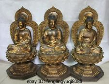 25 Folk Bronze Copper Buddhism Three Amitabha Sakyamuni Tathagata Buddha Statue