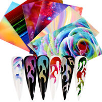 Fire Fire Nail Stickers Hollow Stencil Holographicss Transfer Nail Foil Decals