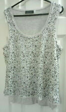 Mint Velvet Silver Sequin Layered Vest Top White/Light grey UK12