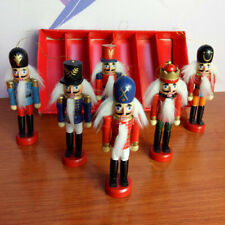 6Pcs/Set Christmas Wooden Nutcracker Soldier With Weapon Decor Ornament Gift