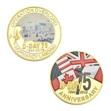 Normandy Landing 75th Anniv 1944-2019 Operation Overload Gold Plated Coin 1 of 5