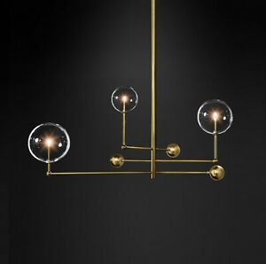 Nordic Copper Black Metal Glass Ball Chandelier Pendant Lamp Magic Bean Light