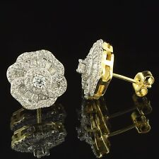 14k Gold Finish Earrings 14mm Simulated Diamonds Push Back Womens Solitaire 14mm