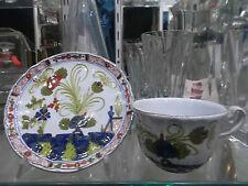 TAZZA+PIATTINO da Collezione - CERAMICA FAENZA decorazione Garofano-Cup pottery