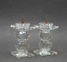 Pair 2 Vintage Signed Swarovski Double Stacked Crystal Ball Candle Holder