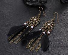 Vintage Antique Bronze Black Feather Tassel Dangle Earrings Beads  Birthday Gift