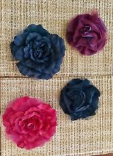 LARGE FLOWER BROOCH/pin OR HAT/clip SILK CHIFFON MESH boutique USA