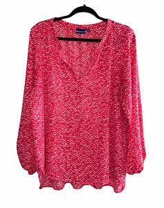 North Crest Long Sleeve Blouse V Neck Top Dress Shirt Pink Women's Plus Size 1X