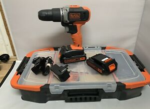 BLACK+DECKER 18V Cordless 2 Speed Hammer Drill, 2x Batteries & Kit Box BCD003