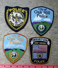 4 West Virginia police Patches : Ronceverte, Weirton & Oak Hill (x2)