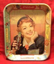 Coca Cola Vintage Retro Sign/Platter Rolled over Side Metal