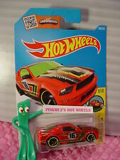 2016 i Hot Wheels '07 Ford Mustang #198✰Red; yellow rim oh5;16✰Art Cars✰Case L/M