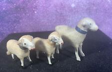 Antique Wooden Stick Leg Wooly Sheep Putz Nativity Japan Rare