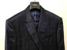 Paul Smith Navy Blue Suit With Fine PRINCE OF WALES CHECK Tailored Fit UK44R