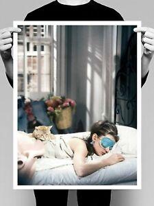 Audrey Hepburn Sleeping Breakfast At Tiffany Fashion Art Poster Print. A3 A2 A1