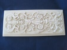 "Carved or Molded Light Creamy Green Wall Decor Flowers Vines 10.5"" x 4.5"""